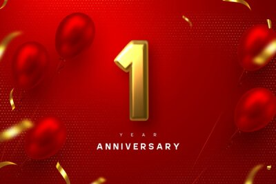 Fototapeta 1 year anniversary celebration banner. 3d golden metallic number 1 and glossy balloons with confetti on red spotted background. Vector realistic template.