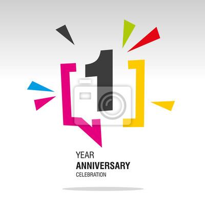 Fototapeta 1 Year Anniversary colorful white modern logo icon banner holiday illustration