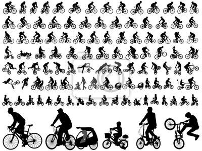 Fototapeta 106 wysokiej jakości bicyclists sylwetki - wektor