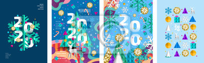 Fototapeta 2020! Merry Christmas and a happy new year! Modern abstract geometrical illustration of a Christmas tree, snowflake and toys for the holiday poster, banner, card, background or pattern