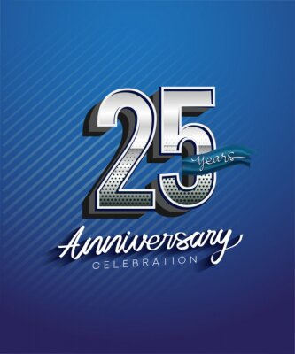Fototapeta 25th years anniversary celebration logotype with silver color and blue ribbon isolated on blue background