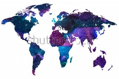 Fototapeta 2d ręcznie ilustracja ilustracja świata. Kolor gradientu akwarela obraz planety na białym tle ziemi. Kolorowe kontynenty. Białe tło.