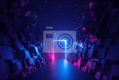 Fototapeta 3d abstract neon background, glowing rectangular frame in cyber space, fantastic scene in virtual reality, road between walls of blocks under the night sky