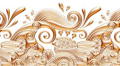 Fototapeta 3d antyczny złoty ornament na białym tle