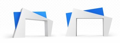 Fototapeta 3d arch of modern architecture design, abstract angular blue and white color buildings, gates construction for exterior or interior front and side view, isolated realistic vector illustration, mockup