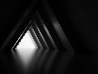 Fototapeta 3d black triangular tunnel with glowing end
