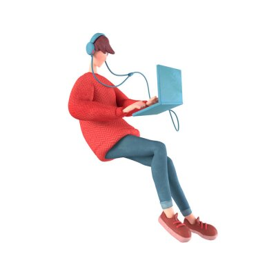 Fototapeta 3d character of a young cartoon guy with headphones listening to music floating in the air. Teen boy in a red sweater surfs the Internet on the computer. 3d rendering isolated on a white background.