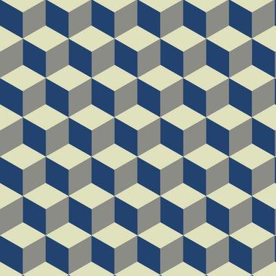 Fototapeta 3D Cube na niebieskim, żółtym i kremowym wzór