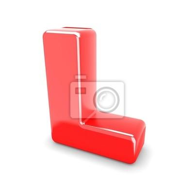 3d czerwony metal litera L w białym tle