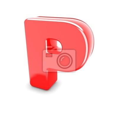 3d czerwony metal litera P w białym tle