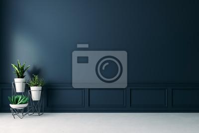 Fototapeta 3d empty interior with home plant