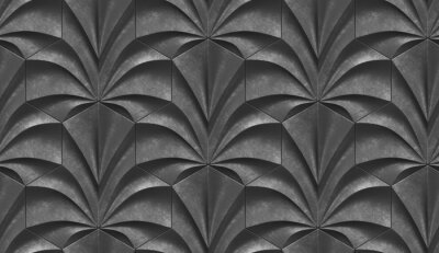 Fototapeta 3D geometry ornament of old dark gray relief panels of smooth wavy forms. High quality seamless texture.
