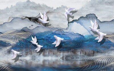 Fototapeta 3d illustration, abstract grunge background, gray and blue waves, smoke, white gilded ceramic birds
