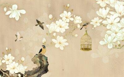 Fototapeta 3d illustration, beige background, white magnolia flowers on a branch, birds