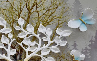 Fototapeta 3d illustration, dark forest background, white branch with leaves, two large white-blue butterflies