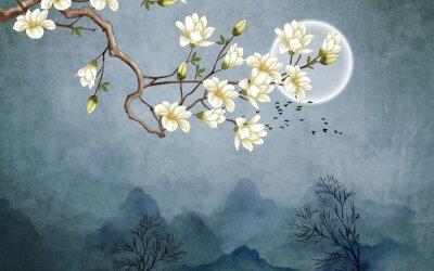 Fototapeta 3d illustration, dark grunge background, full moon, white magnolia flowers on a branch, flock of birds in the sky