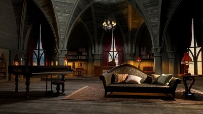 Fototapeta 3D illustration of a castle or palace interior room in gothic style with grand piano and sofa.