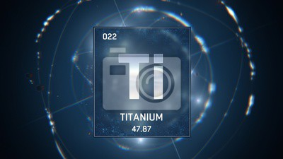 Fototapeta 3D illustration of Titanium as Element 22 of the Periodic Table. Blue illuminated atom design background with orbiting electrons. Design shows name, atomic weight and element number