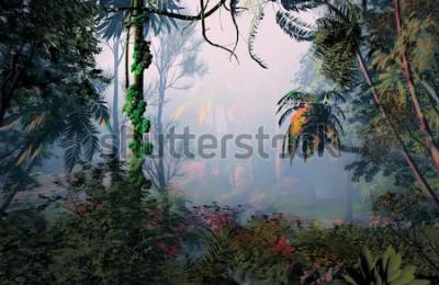 Fototapeta 3D ilustracja krajobraz lasów tropikalnych, gdzie obserwuje się w tle bardzo pochmurną atmosferę