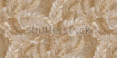 Fototapeta 3d ilustracja. Tło w stylu tropików. Obszerne złoto-białe liście palmowe, liście tropikalnych roślin, na płaskorzeźbno-złotym tle. Świąteczne tło, tapeta, 3D ren