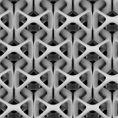 Fototapeta 3d ilustracji, biały matowy abstrakcyjna łańcucha na czarnym tle