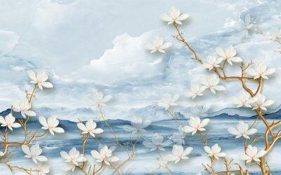 Fototapeta 3d landscape illustration, hills and clouds, large white flowers on thin branches