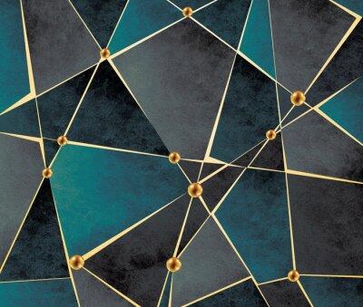 Fototapeta 3d modern mural wallpaper . Golden lines, gold ball and dark background .