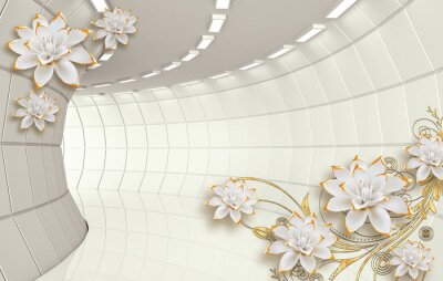 Fototapeta 3d mural illustration background with golden jewelry and flowers ,  decorative wallpaper