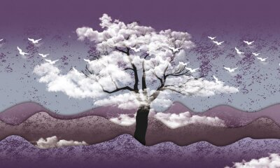 Fototapeta 3d mural wallpaper . mountain , white birds in sky with black tree in clouds . light purple background