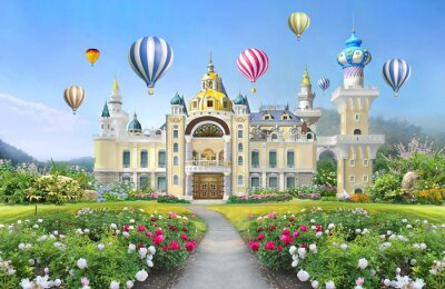 Fototapeta 3d mural wallpaper  palace with garden and flowers landscape . colored Air balloons in the sky . suitable for Childrens wallpaper