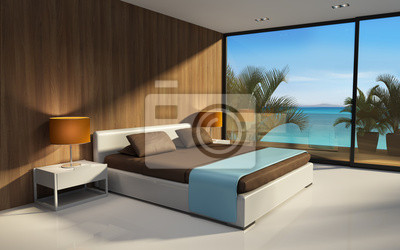 Fototapeta 3d Nowoczesne Wnętrze Sypialni Egzotyczny Hotel Widokiem
