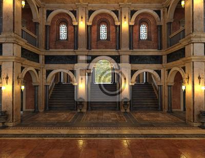 Fototapeta 3d odpłacają się luksusowy pałac wnętrze dekorujący z czarnym i złotym marmurem