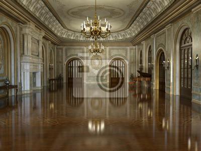 Fototapeta 3d odpłacają się złoty luksusowy pałac wnętrze dekorujący z białym marmurem i złotym wystrojem