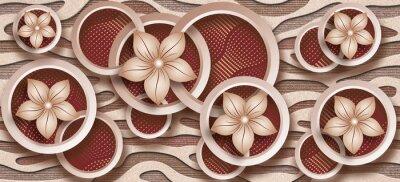 Fototapeta 3D Photomural wallpaper background, High quality rendering decorative wallpaper illustration, 3D flower Living room wallpaper.