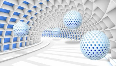 Fototapeta 3d picture balls fly away into the tunnel perspective