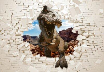 Fototapeta 3d picture dinosaur in a broken wall
