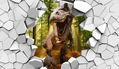 Fototapeta 3d picture dinosaur through a broken stone wall