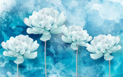 Fototapeta 3d picture of blue flowers on a blue background
