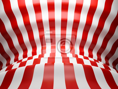 3D Red and white wave lines background with glossy reflects