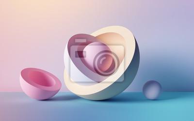 Fototapeta 3d render, abstract background, pastel neon balls, primitive geometric shapes, simple mockup, minimal design elements