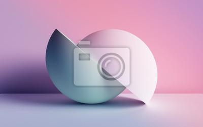 Fototapeta 3d render, abstract background, pastel neon primitive geometric shapes, balls, simple mockup, minimal design elements