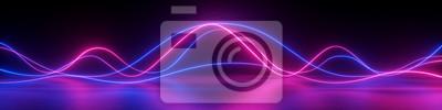 Fototapeta 3d render, abstract panoramic background, neon light, laser show, impulse, equalizer chart, ultraviolet spectrum, pulse power lines, quantum energy impulse, pink blue violet glowing dynamic lines