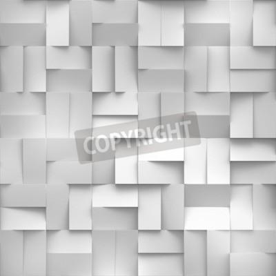 Fototapeta 3d render, bia? E bloki cyfrowe ilustracji, abstrakcyjne geometryczne t? A, bezszwowych tekstur