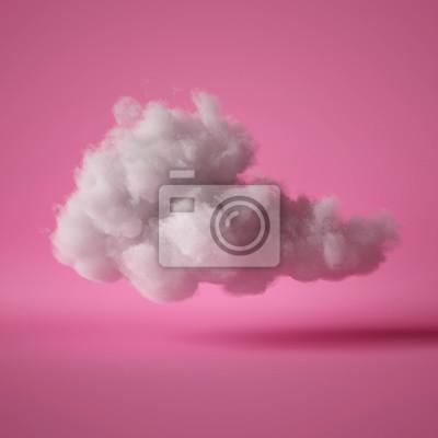 Fototapeta 3d render, fluffy white cloud isolated on pink background, dust or mist