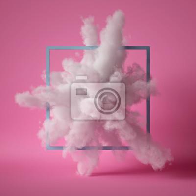 Fototapeta 3d render, fluffy white cloud isolated on pink background, dust or mist, object inside square frame