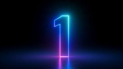 Fototapeta 3d render, number one glowing in the dark, pink blue neon light
