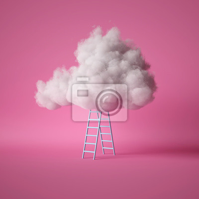 Fototapeta 3d render, white fluffy cloud above the blue ladder, isolated on pink background