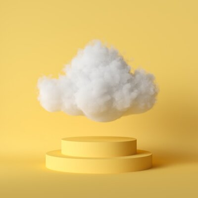 Fototapeta 3d render, white fluffy cloud flying above the cylinder pedestal, stairs, steps, round podium, minimal room interior. Isolated objects, bright yellow background, modern design, abstract metaphor