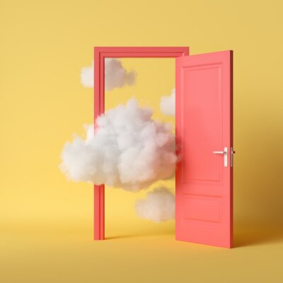 Fototapeta 3d render, white fluffy clouds going through, flying out, open red door, objects isolated on bright yellow background. Abstract metaphor, modern minimal concept. Surreal dream scene