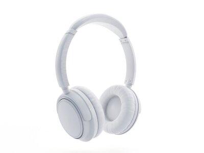 Fototapeta 3d rendered object illustration of an abstract white headphones